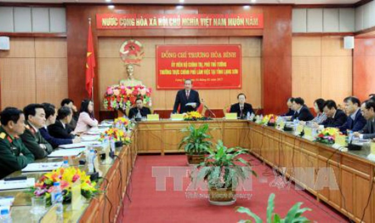 Phó Thủ tướng Thường trực Chính phủ Trương Hòa Bình phát biểu tại buổi làm việc. Ảnh TTXVN