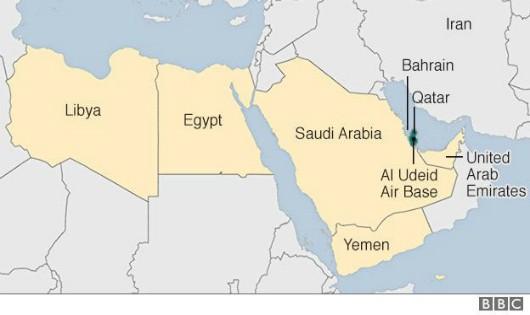 Bản đồ thể hiện vị trí các nước láng giềng vừa cắt đứt quan hệ ngoại giao với Qatar. Đồ họa: BBC/Zing