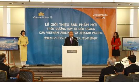 Thủ tướng dự lễ giới thiệu sản phẩm mới trên đường bay đi/đến Osaka của Vietnam Airlines