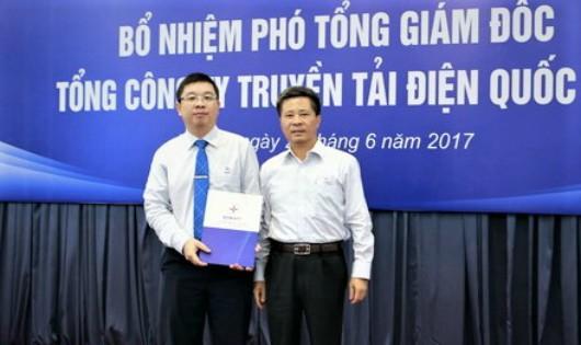 Ông Phạm Lê Phú (trái) được thăng chức Phó Tổng Giám đốc EVNNPT từ 1/7