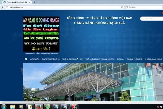 Hacker tấn công thay đổi giao diện website cảng hàng không Rạch Giá. (Ảnh minh họa)