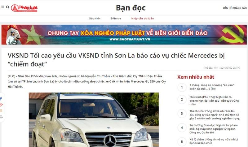 Văn phòng Cơ quan CSĐT Bộ Công an chỉ đạo giải quyết, báo cáo vụ chiếm đoạt xe Mercedes ở Sơn La