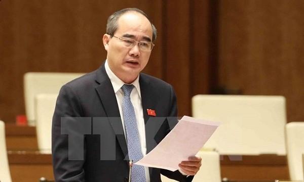 Bí thư Thành ủy Thành phố Hồ Chí Minh Nguyễn Thiện Nhân phát biểu ý kiến tại Quốc hội. (Ảnh: Phương Hoa/TTXVN)