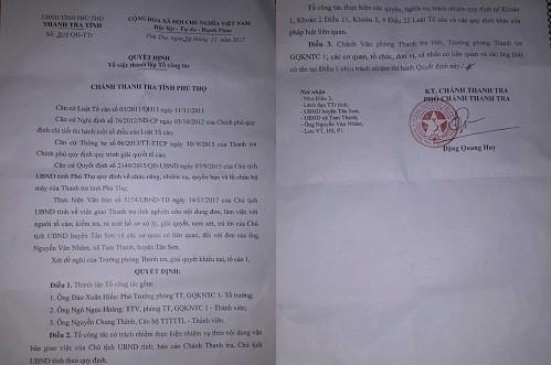 Quyết định của Thanh tra tỉnh Phú Thọ thành lập Tổ công tác kiểm tra, rà soát hồ sơ xử lý những sai phạm của lãnh đạo xã Tam Thanh