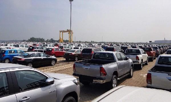 Xe ô tô chờ làm thủ tục NK tại cảng Tân Vũ Ảnh: T.H