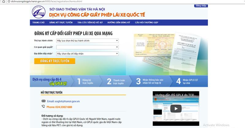 Hà Nội cấp giấy phép lái xe quốc tế qua mạng
