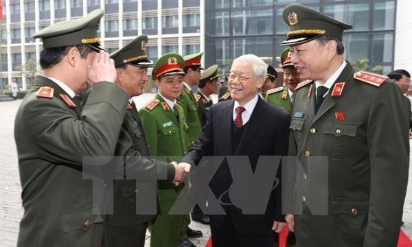 Tổng Bí thư Nguyễn Phú Trọng và Bộ trưởng Bộ Công an Tô Lâm với các đại biểu dự hội nghị. (Ảnh: Trí Dũng/TTXVN)