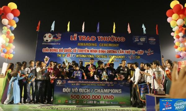 CLB B.Bình Dương đã giành chức vô địch Giải Bóng đá quốc tế truyền hình Bình Dương - Cúp Number 1 lần thứ 18