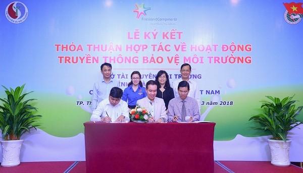 Ký kết hợp tác giữa Sở Tài Nguyên Môi Trường, Tỉnh Đoàn tỉnh Bình Dương và Công ty FrieslandCampina Việt Nam