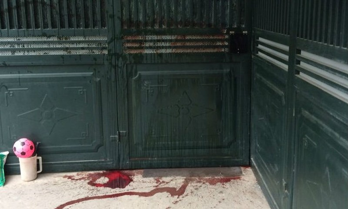 Ngôi nhà bà Lan bị hắt chất đỏ như máu