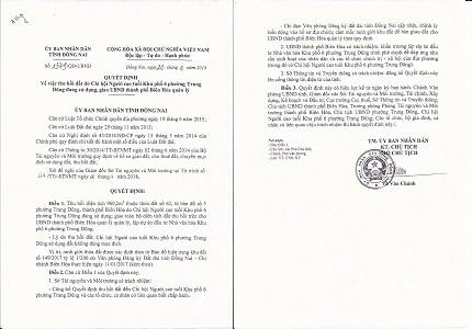 Quyết định thu hồi đất Chi hội Người cao tuổi KP.6 đang sử dụng