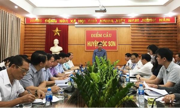 Phó Bí thư Thành ủy Hà Nội Đào Đức Toàn phát biểu chỉ đạo tại cuộc làm việc với huyện Sóc Sơn. Ảnh KTĐT