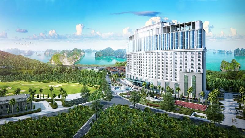 Toàn cảnh khách sạn FLC Grand Hotel Halong có tầm nhìn hướng Vịnh Hạ Long và sân golf 18 hố