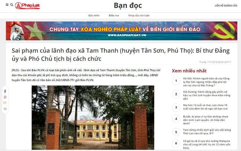 Cần khởi tố vụ án để điều tra sai phạm của nguyên lãnh đạo xã Tam Thanh (Phú Thọ)
