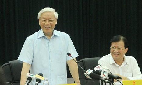 Tổng Bí thư Nguyễn Phú Trọng phát biểu tại buổi làm việc với Bộ Công thương. Ảnh: Zing.vn