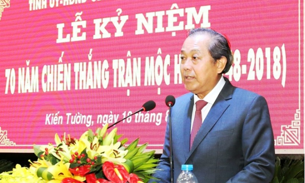 Phó Thủ tướng Trương Hòa Bình phát biểu tại lễ kỷ niệm. Ảnh VGP
