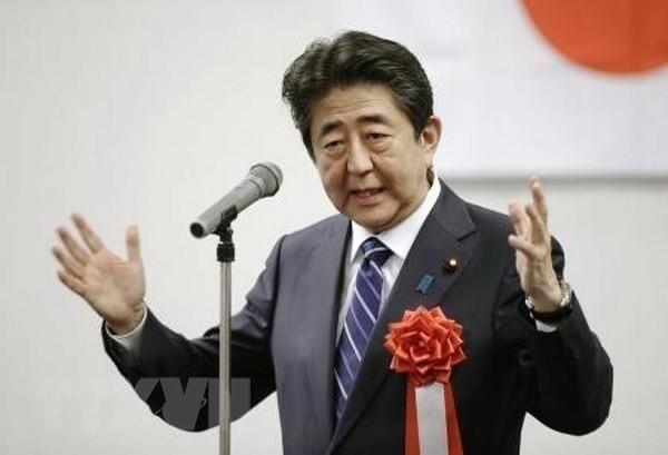 Thủ tướng Shinzo Abe phát biểu tại cuộc họp của LDP ở Yamaguchi. (Nguồn: Kyodo/TTXVN)