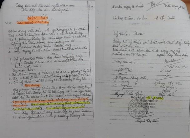 Biên bản xác minh chữ ký trong giấy xác nhận ở nhờ của nguyên đơn là giả