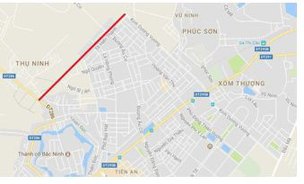 Con đường dài 1,39km mà Bắc Ninh dự kiến giao cho Dabaco thực hiện