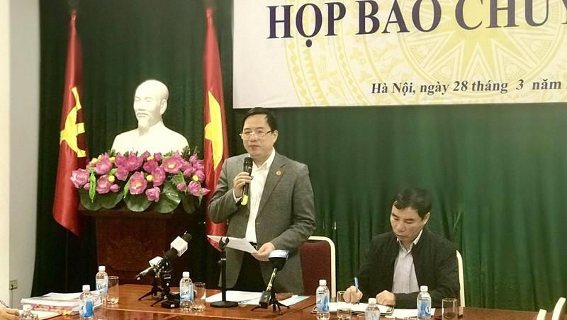 Ông Đặng Quyết Tiến, Cục trưởng Cục Tài chính DN, Bộ Tài chính tại cuộc họp báo
