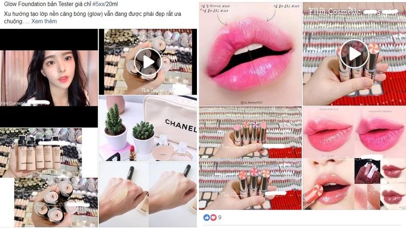 Mỹ phẩm dạng mini size được bày bán tràn lan trên mạng xã hội