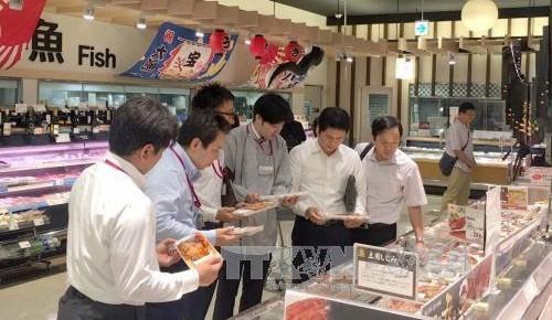 Đại diện Bộ Công Thương và cán bộ phụ trách siêu thị AEON Nhật Bản xem mặt hàng cá tra Việt Nam. Ảnh: Thành Hữu/TTXVN