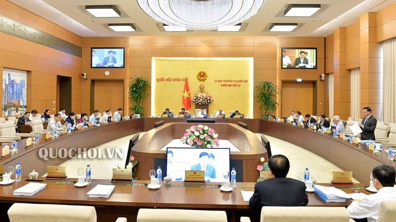 Phiên họp thứ 33 của Ủy ban Thường vụ Quốc hội. Ảnh quochoi.vn