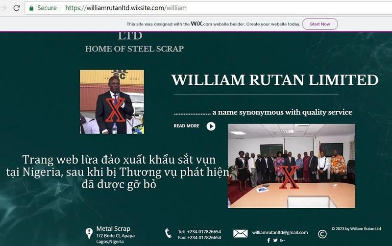 Website một DN Tây Phi đã gỡ sau khi bị phát hiện lừa đảo