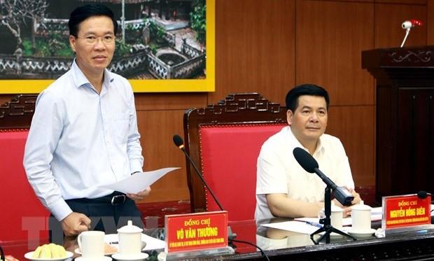 Ông Võ Văn Thưởng, Ủy viên Bộ Chính trị, Bí thư Trung ương Đảng, Trưởng ban Tuyên giáo Trung ương phát biểu tại buổi làm việc. (Ảnh: Thế Duyệt/TTXVN)