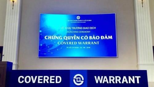 Khai trương giao dịch Chứng quyền có bảo đảm tại Sở giao dịch chứng khoán Thành Phố Hồ Chí Minh. Ảnh: HOSE