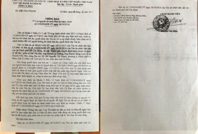 Thông báo của Cục THADS tỉnh Cà Mau