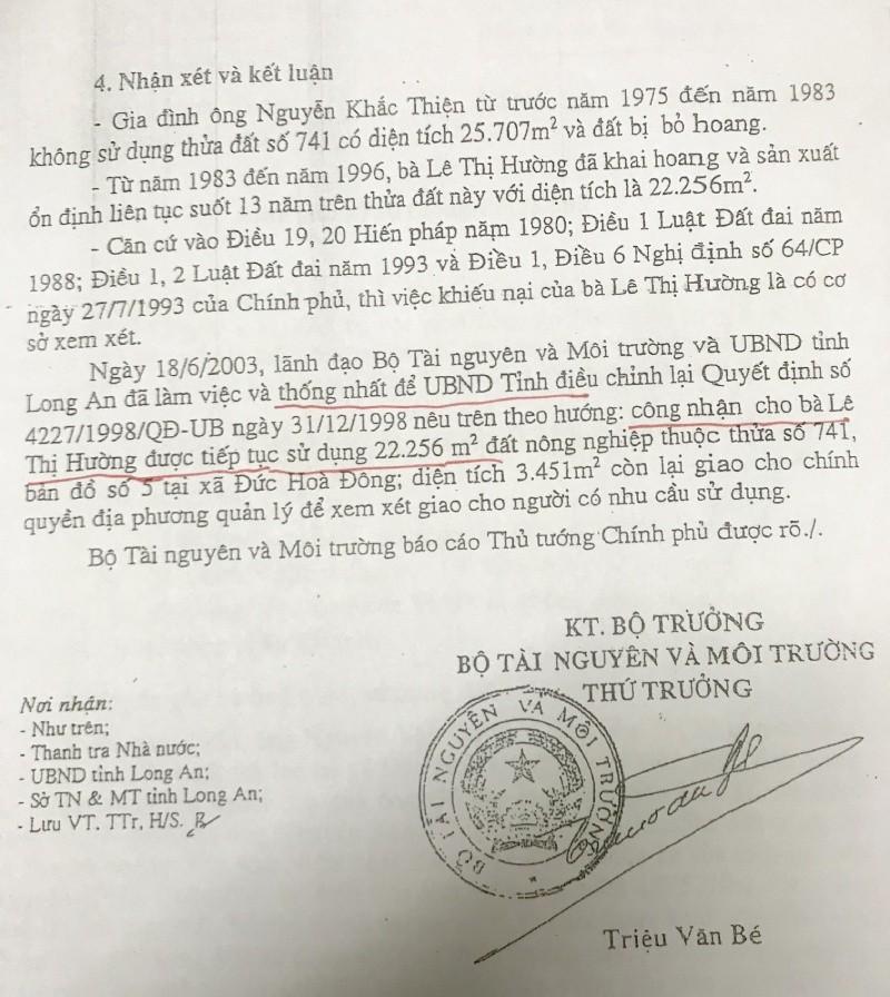 Theo Bộ TN&MT, đơn vị này và tỉnh Long An đã thống nhất công nhận đất cho bà Hường