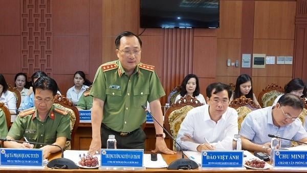 Thượng tướng Nguyễn Văn Thành phát biểu tại buổi làm việc