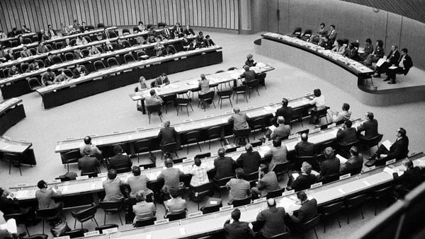 Phiên họp thứ 3 của Hội nghị Luật Biển lần thứ 3 của Liên Hợp quốc (LHQ) khai mạc ngày 18/3/1975. Ảnh: LHQ