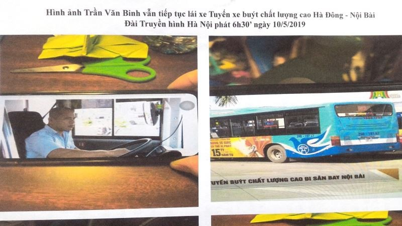 Bức ảnh gia đình nạn nhân đưa ra cho rằng tài xế Binh vẫn lái xe bus tuyến khác dù đang bị điều tra