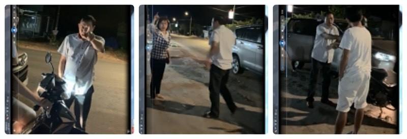 Hình ảnh vợ chồng ông Diên – bà Huấn chửi bới, đòi nợ giữa đường (hình ảnh cắt từ clip bạn đọc cung cấp)