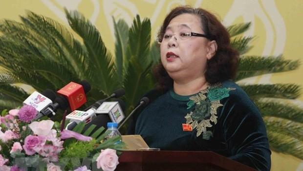 Bà Nguyễn Thị Bích Ngọc, Phó Bí thư Thành ủy, Chủ tịch Hội đồng nhân dân thành phố Hà Nội. (Ảnh: Nguyễn Dân/TTXVN)