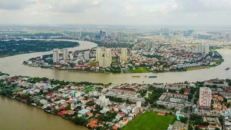 Đoạn sông Sài Gòn chảy qua phường Thảo Điền, quận 2. Ảnh: Quỳnh Trần/VnE