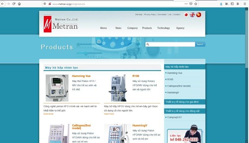 Website của Công ty Metran (http://www.metran.co.jp/vn/products)