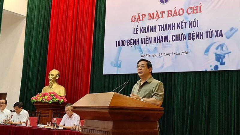 Cục Trưởng Cục Khám chữa bệnh Lương Ngọc Khuê  thông tin tới báo chí về việc kết nối 1000 bệnh viện khám chữa bệnh từ xa.