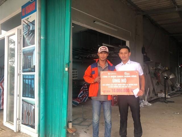 Công ty cổ phần phụ kiện Express đã thay mặt Nhà máy nhôm Xingfa Quảng Đông & nhà phân phối Aseanwindow gửi tặng quà đến các xưởng thiệt hại nghiêm trọng tại Quảng Ngãi.