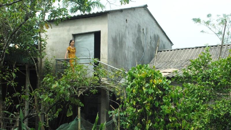 Căn nhà tránh lũ của chị Nguyễn Thị Xuân ở thôn Hưng Thịnh (An Hòa Thịnh, huyện Hương Sơn).