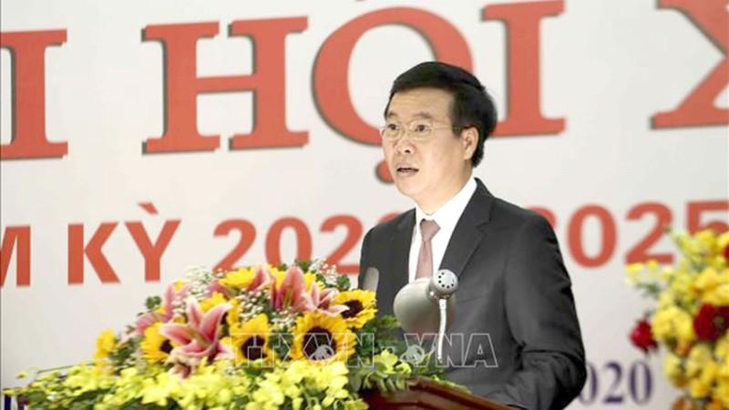 Đồng chí Võ Văn Thưởng, Ủy viên Bộ Chính trị, Bí thư Trung ương Đảng, Trưởng Ban Tuyên giáo Trung ương phát biểu tại Đại hội.