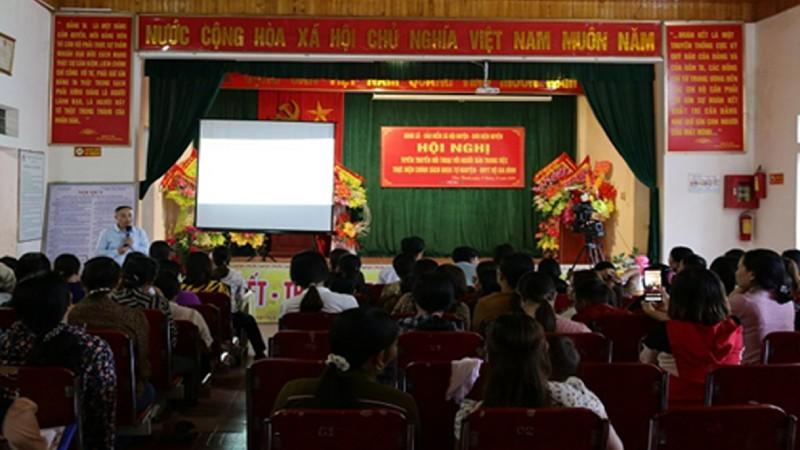 Hội nghị tuyên truyền về chính sách BHXH tự nguyện tại xã Viễn Thanh, huyện Yên Thành, tỉnh Nghệ An. (Ảnh: BHXH Việt Nam)