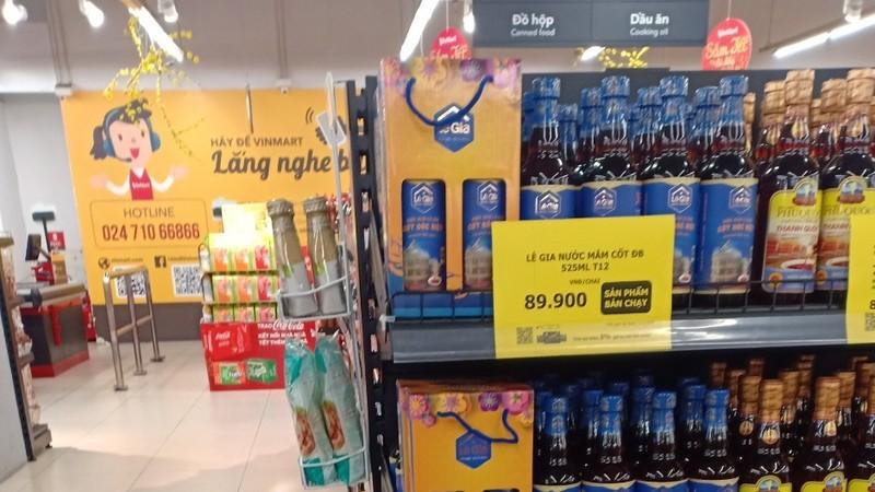 Sản phẩm 4 sao OCOP của Lê Gia ở siêu thị Vinmart.