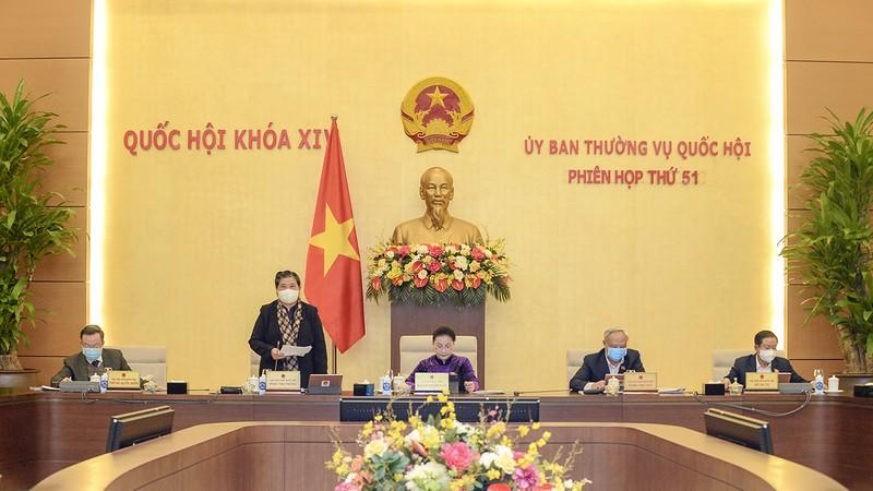 Phó Chủ tịch Thường trực Quốc hội Tòng Thị Phóng phát biểu kết luận tại Phiên thảo luận. (Hình: quochoi.vn)