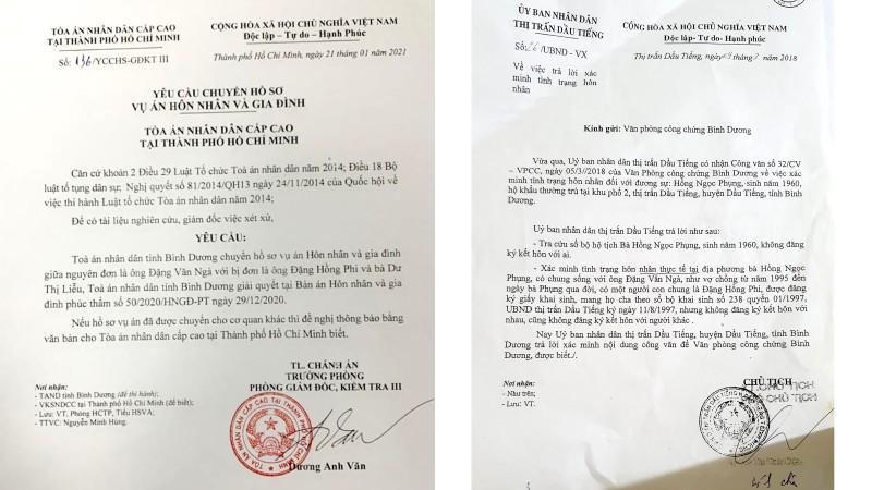 Văn bản của TAND Cấp cao yêu cầu tòa Bình Dương chuyển hồ sơ để nghiên cứu xem xét, giám đốc thẩm bản án (trái) và Văn bản xác nhận sai thẩm quyền của UBND thị trấn Dầu Tiếng (phải)