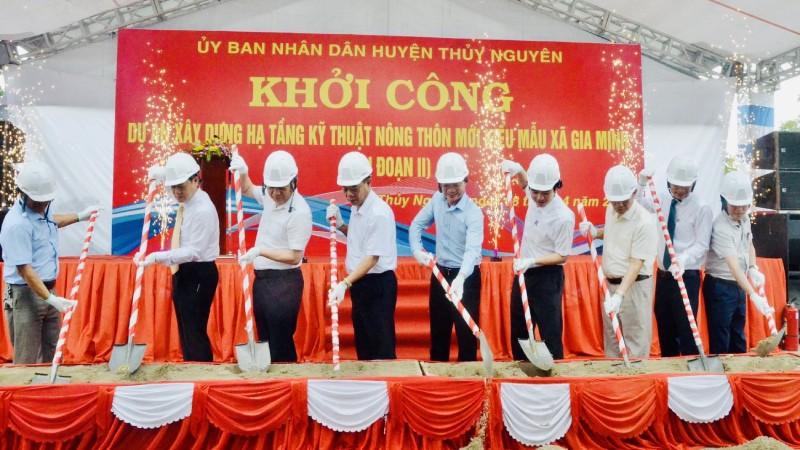Huyện Thuỷ Nguyên khởi công xây dựng hạ tầng kỹ thuật nông thôn mới kiểu mẫu xã Gia Minh (giai đoạn II) ngày 8/4/2021.