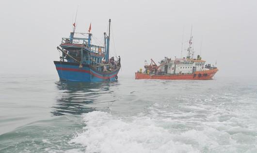 Tàu cá gặp nạn được lực lượng cứu hộ lai dắt vào bờ an toàn