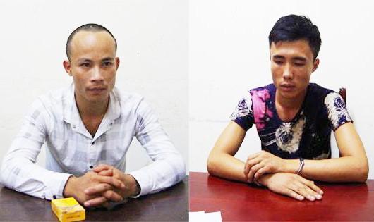 Hai nghi phạm Nguyễn Đình Hà và Phan Văn Xin đến CQĐT Công an Nghệ An đầu thú.